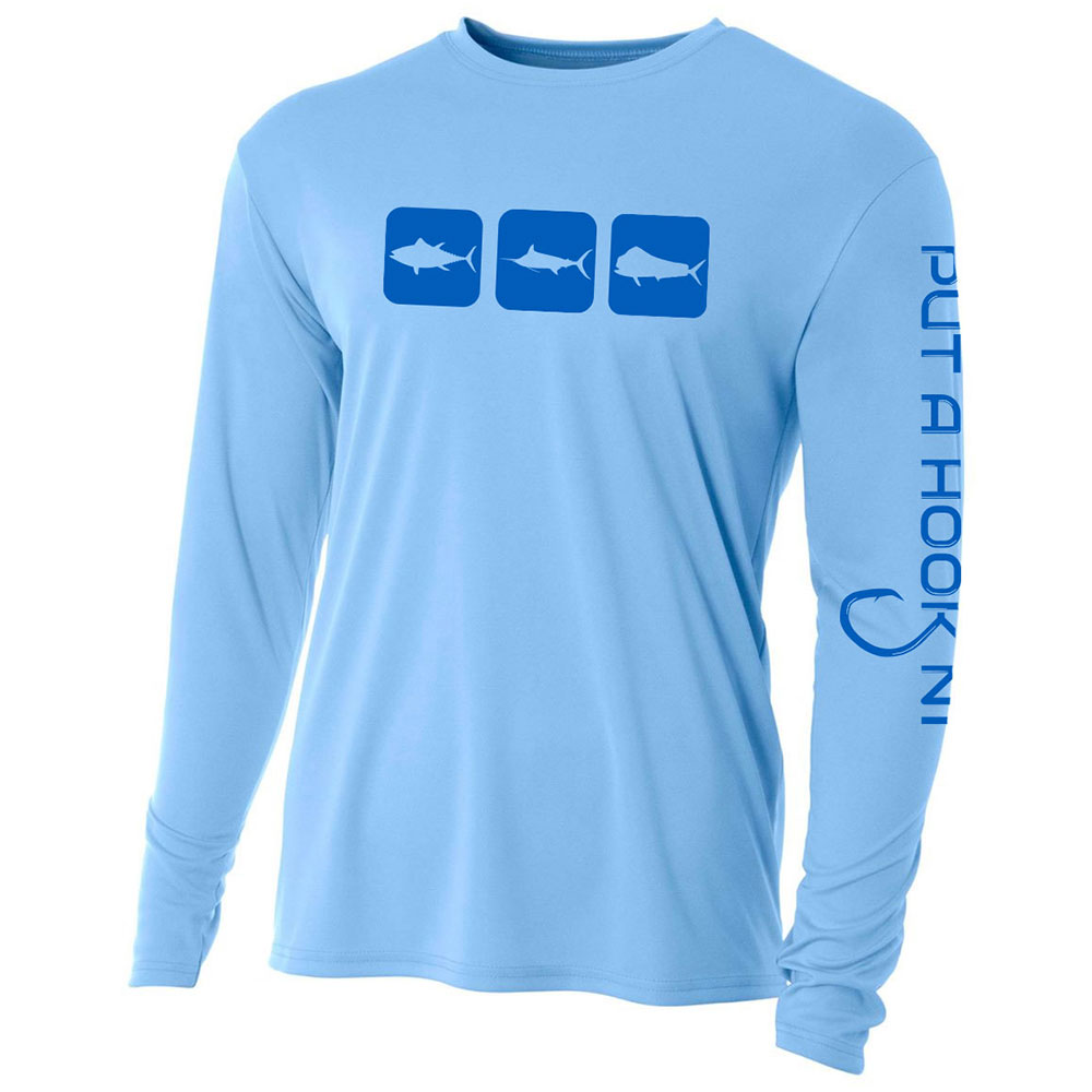 long sleeve performance fishing shirt triblock blue