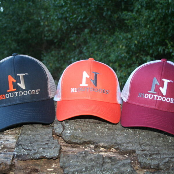 orange hunting hat and navy and maroon