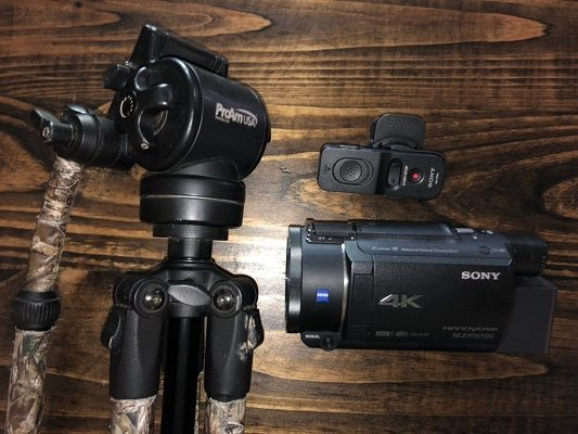 sony 4k video camera for filming hunts and fluid arm and remote