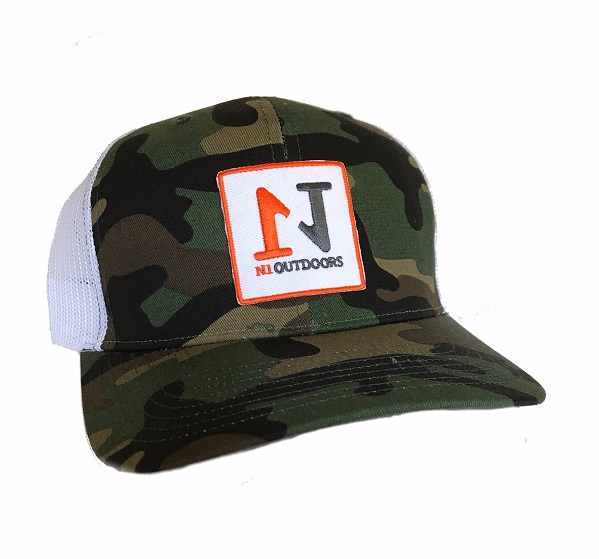 n1 outdoors green camo embroidered patch snap back hat