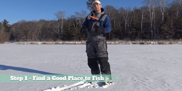man at ice fishing spot